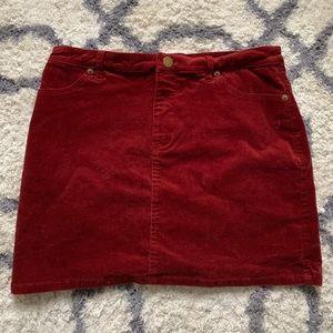 Maroon/Red Corduroy Skirt